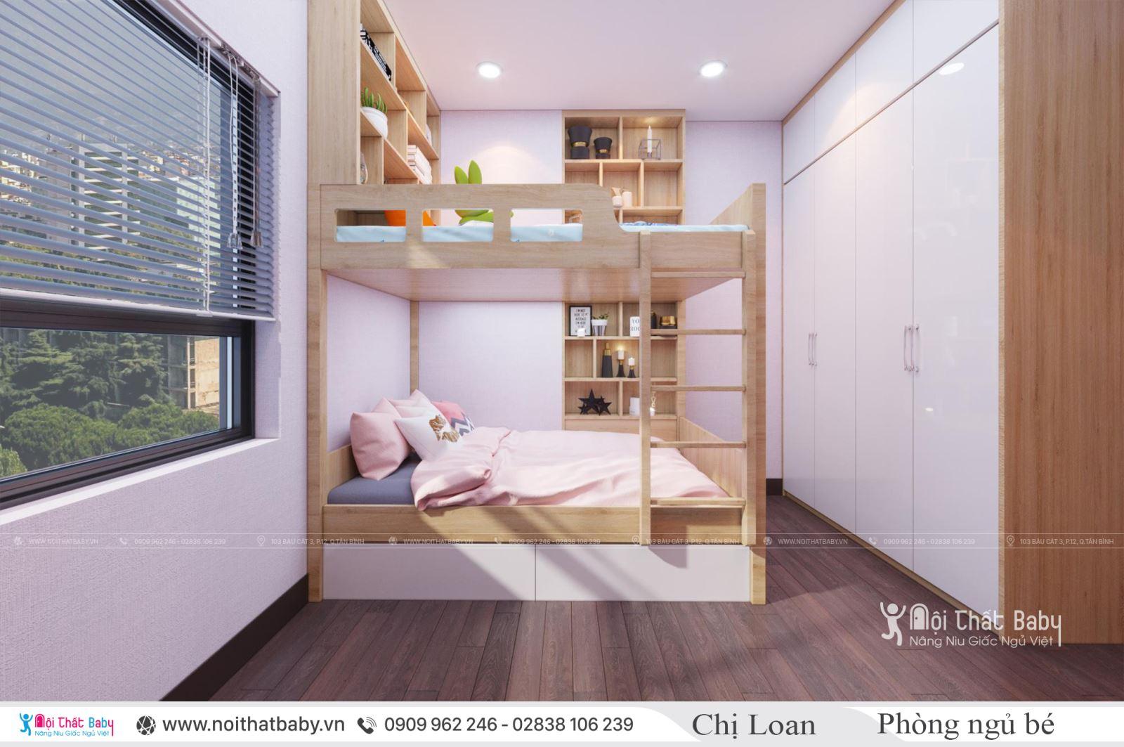 Mẫu giường tầng đẹp cho bé gái