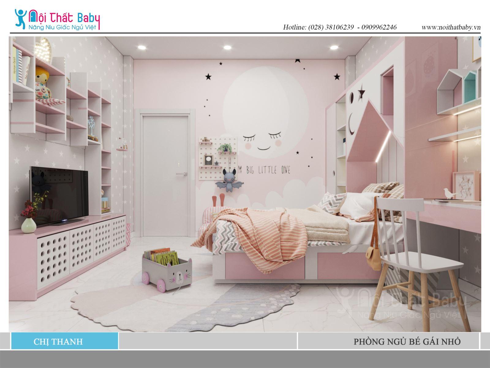 Những mẫu giường ngủ màu hồng dễ thương cho bé