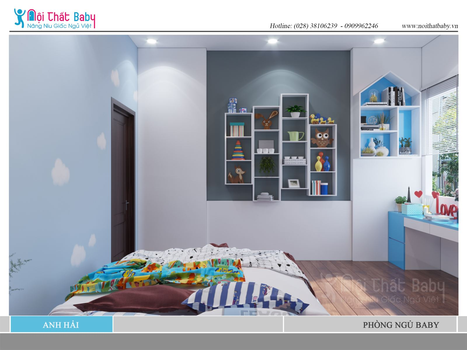 Phòng ngủ Baby màu xanh dễ thương nhà anh Hải