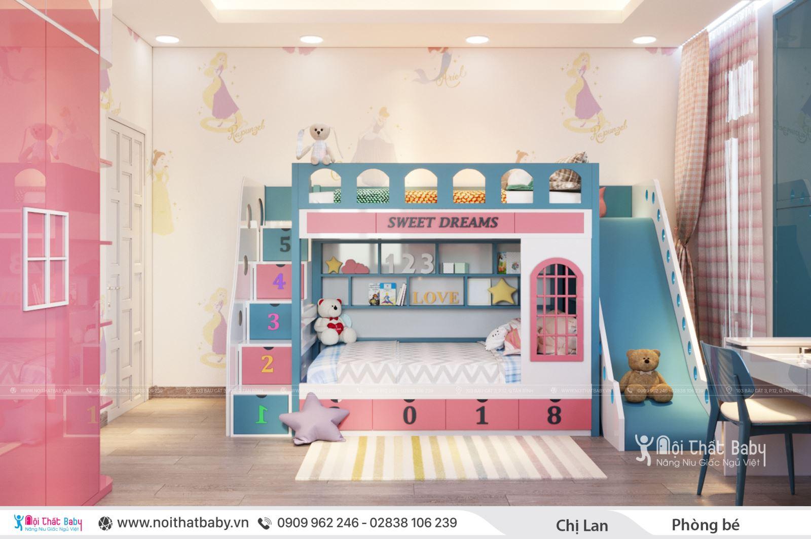 Thiết kế phòng ngủ cho bé gái đẹp và hiện đại
