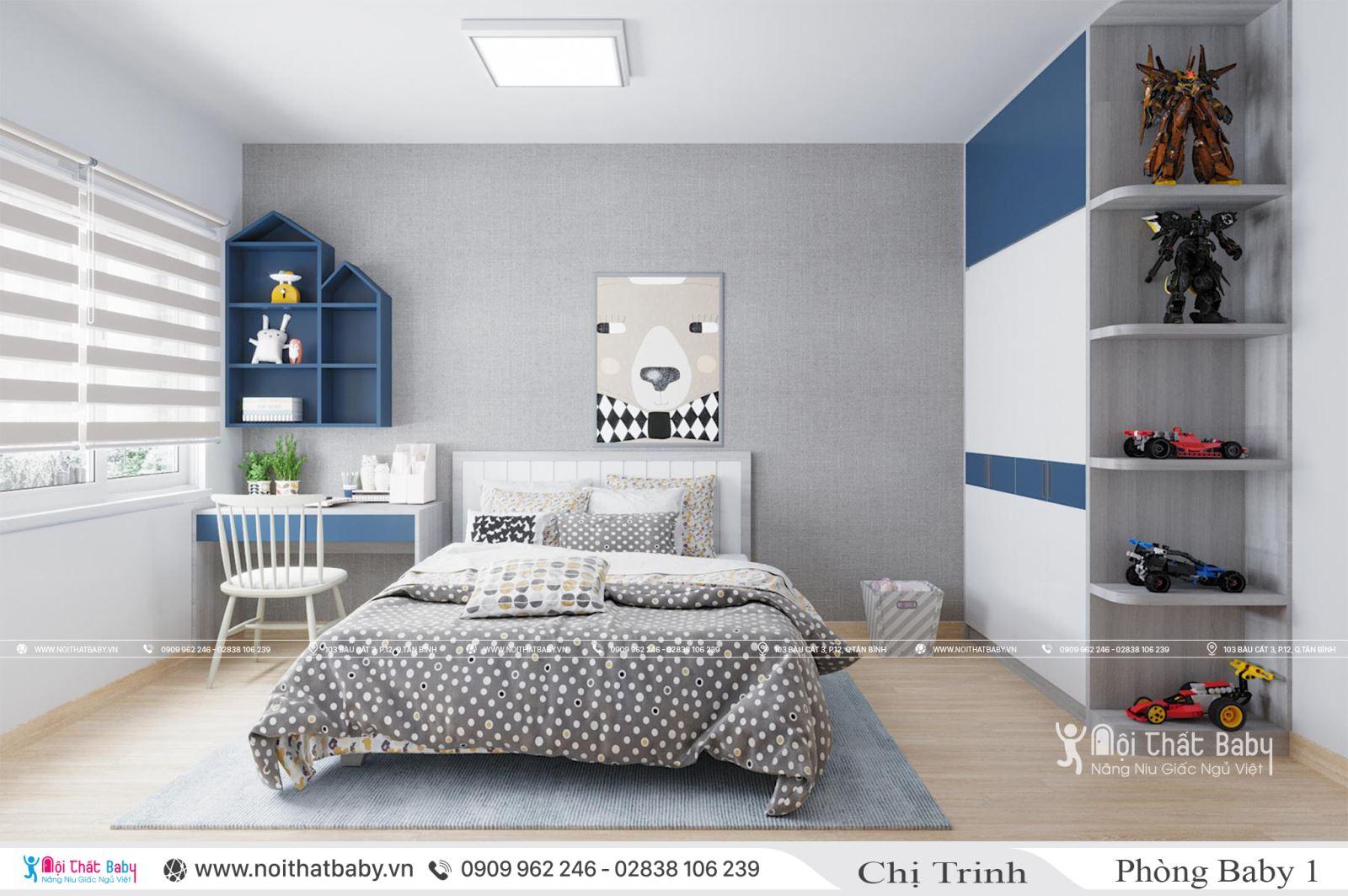 Thiết kế phòng ngủ bé trai dễ thương tại căn hộ Emerald Celadon City 104m2