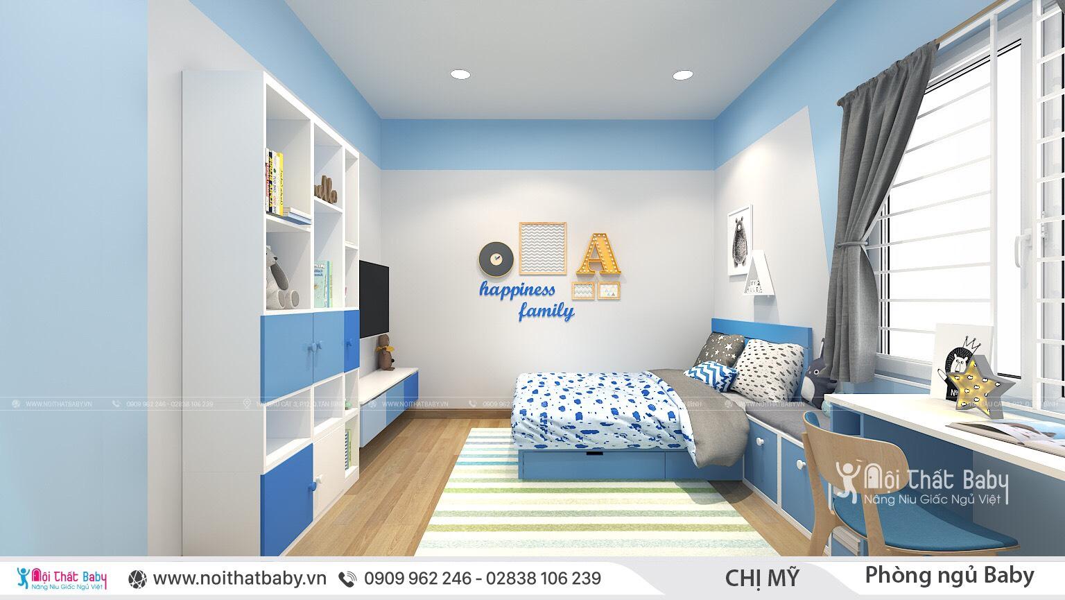 Thiết kế phòng ngủ bé trai màu xanh cá tính