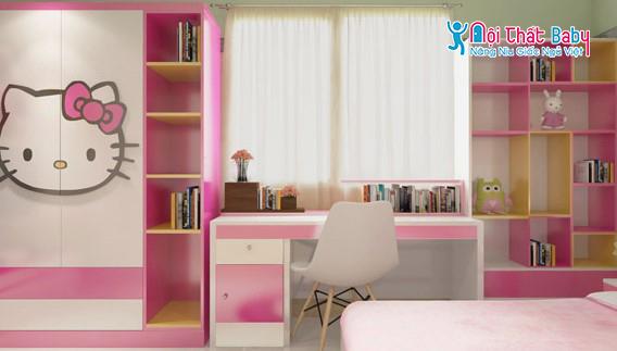 Mẫu bàn học màu hồng dễ thương cho bé