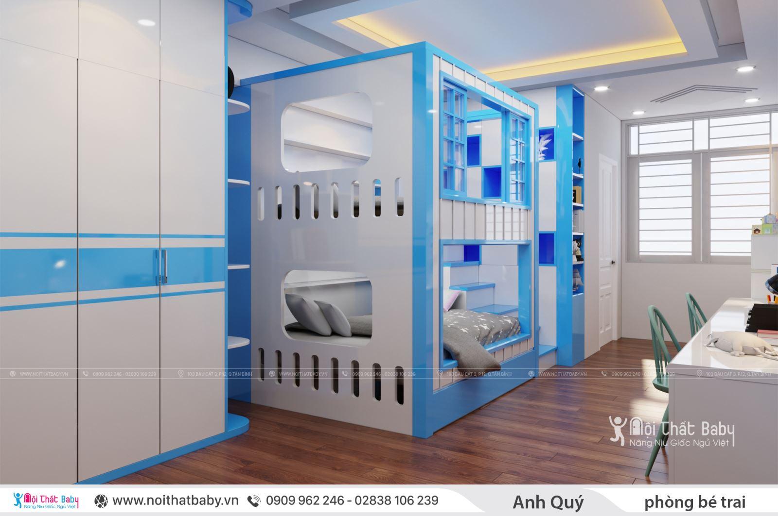 Thiết kế phòng ngủ giường tầng cho bé