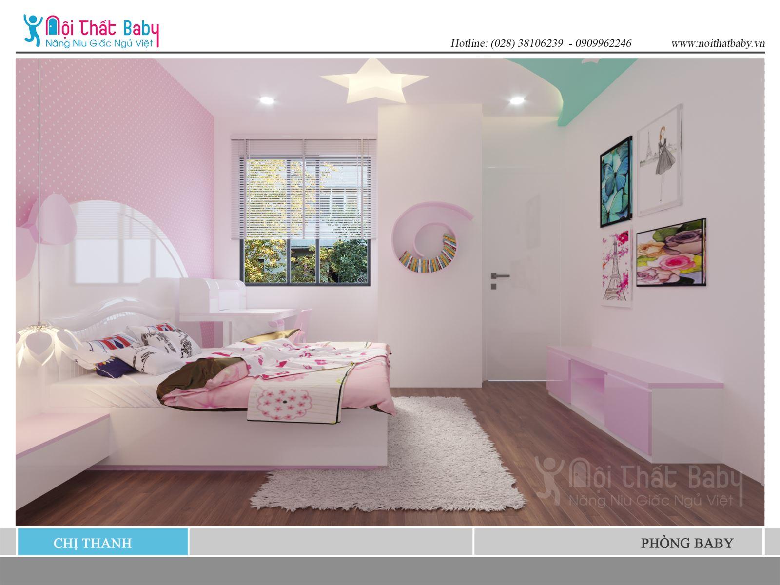 giường ngủ bé gái màu hồng tiện nghi