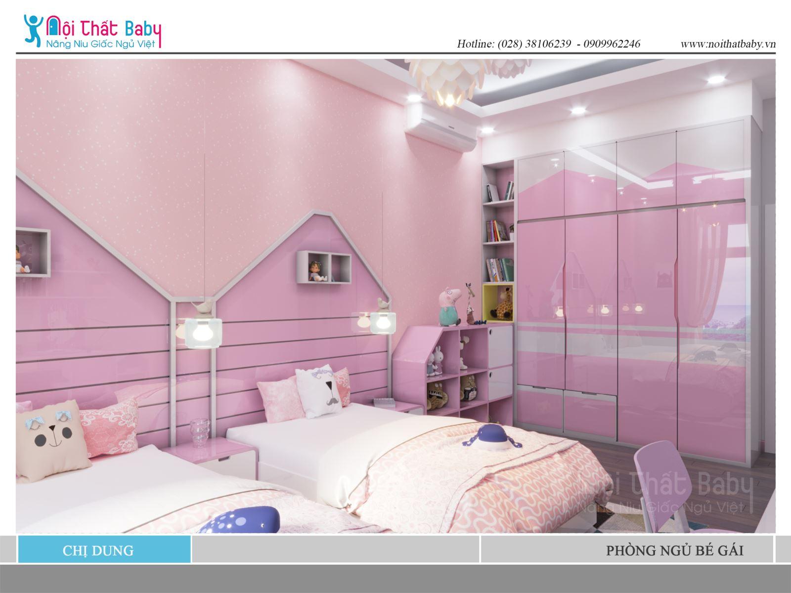 giường ngủ đôi cho bé gái màu hồng