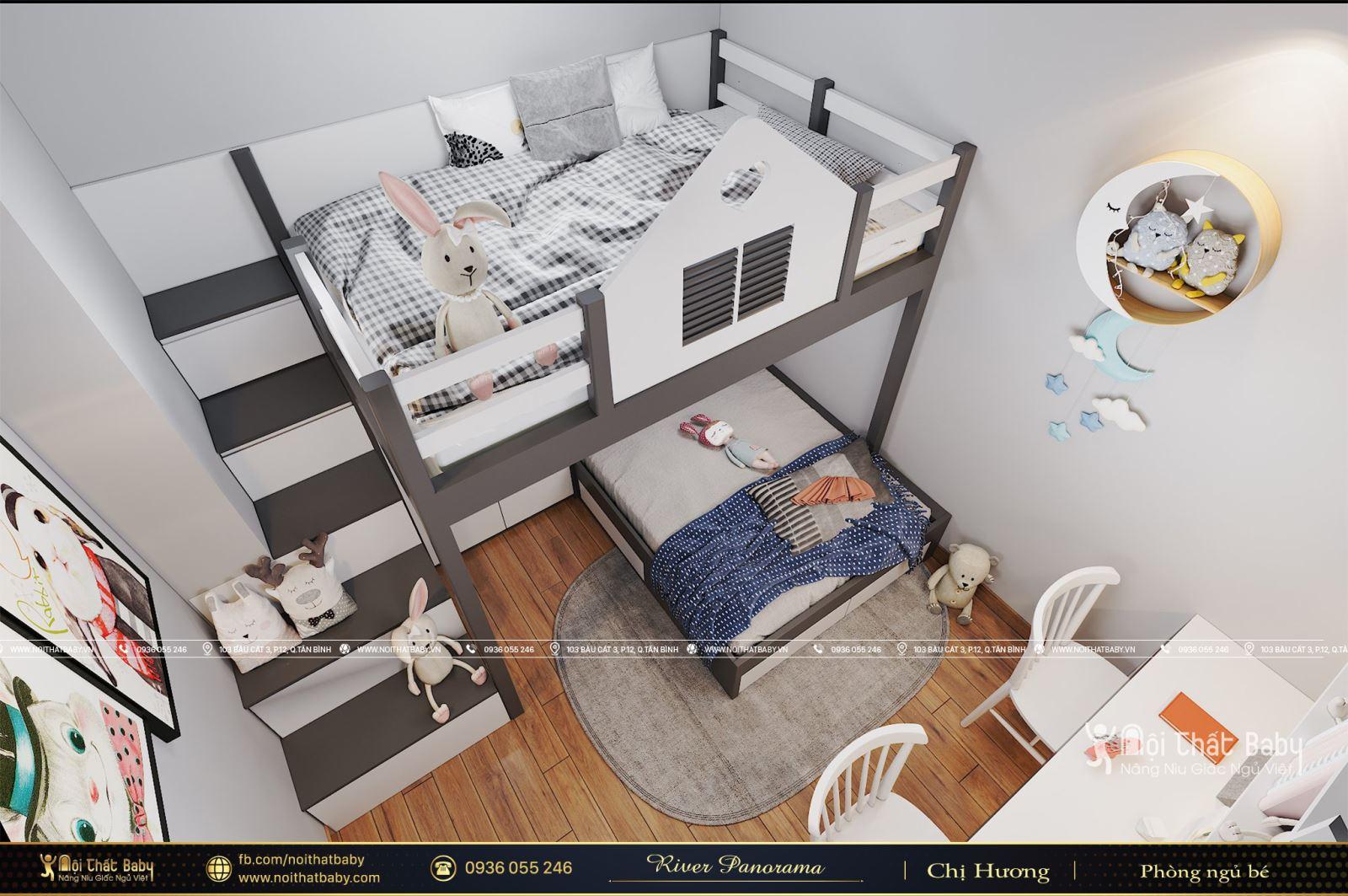 Mẫu giường tầng bé gái hiện đại tại River Panorama