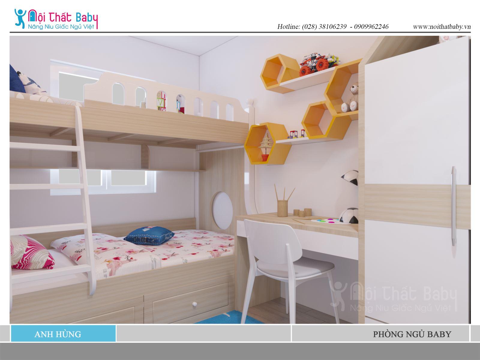 Giường tầng đẹp dành cho 2 bé trai hoặc 2 bé gái