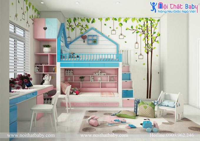Giường tầng bé trai và bé gái đẹp