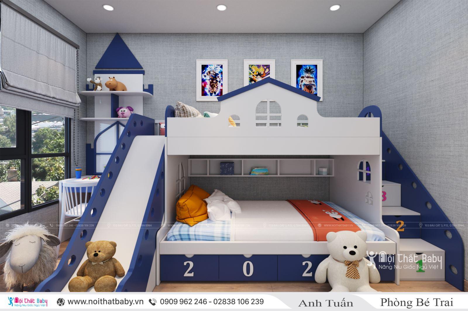 Giường tầng có cầu trượt cho bé trai tại căn hộ Emerald Celadon City