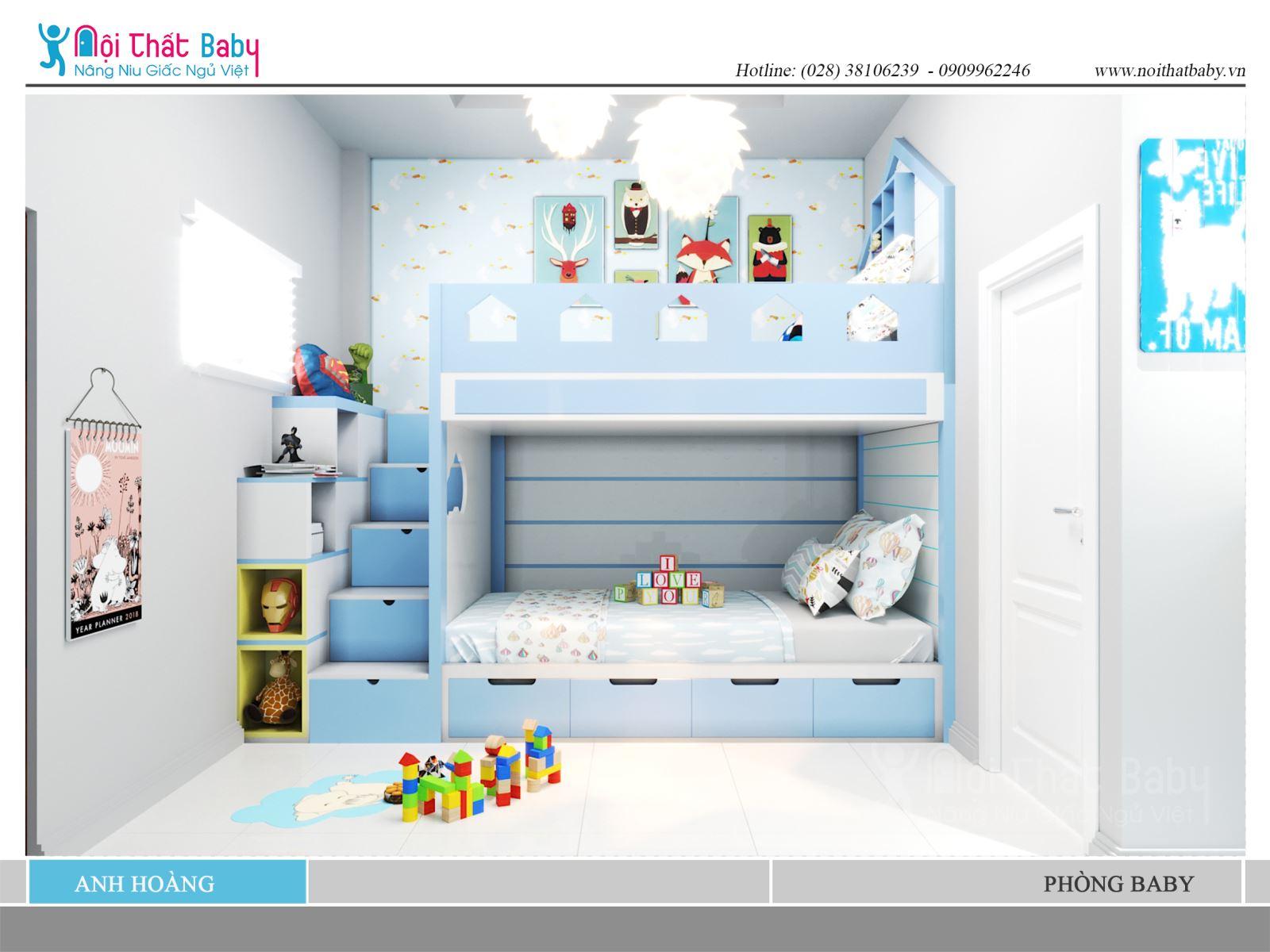 Giường tầng dễ thương màu xanh