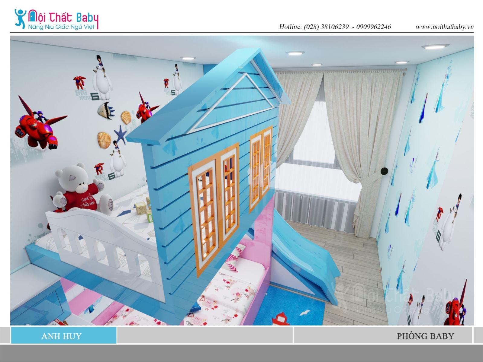 Giường tầng màu xanh có cầu trượt cho bé
