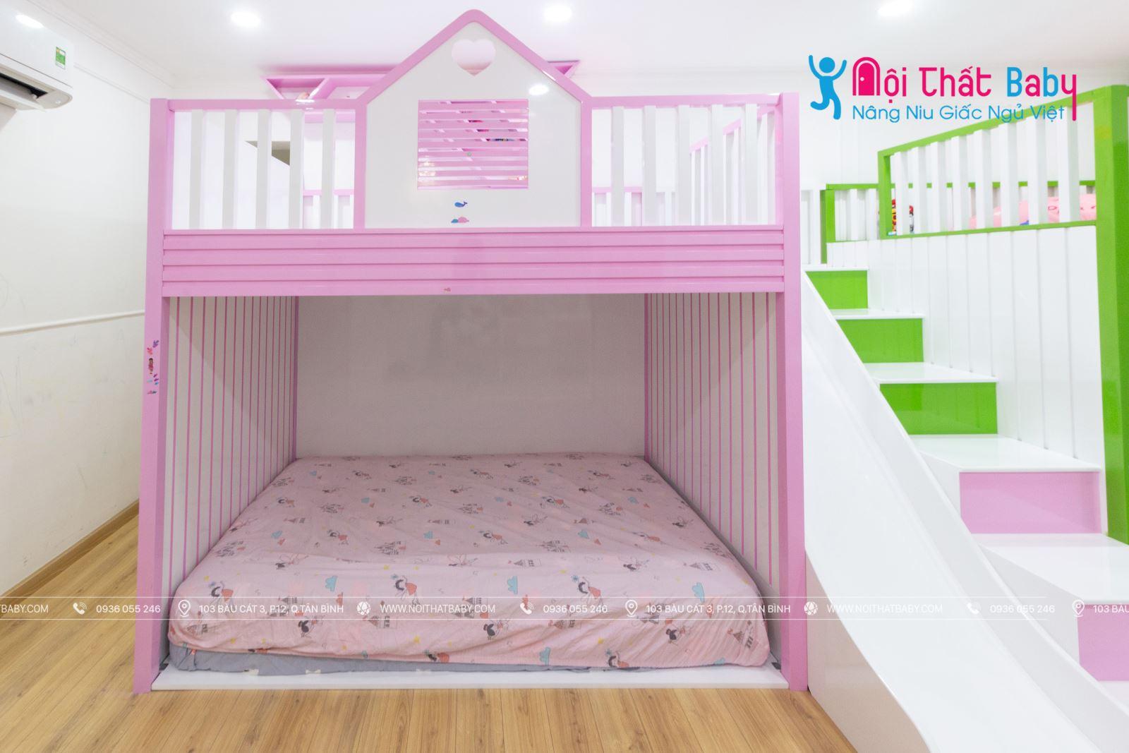 Hình ảnh thực tế thi công phòng ngủ bé nhà chị Trâm - Tân Bình