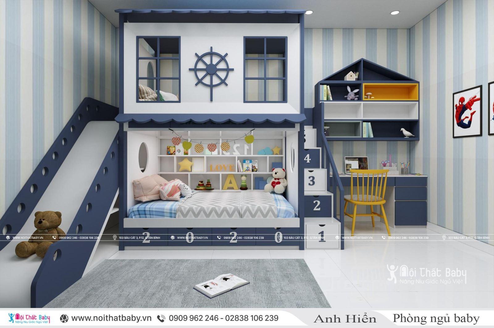 Thiết kế giường tầng có cấu trượt cho bé trai