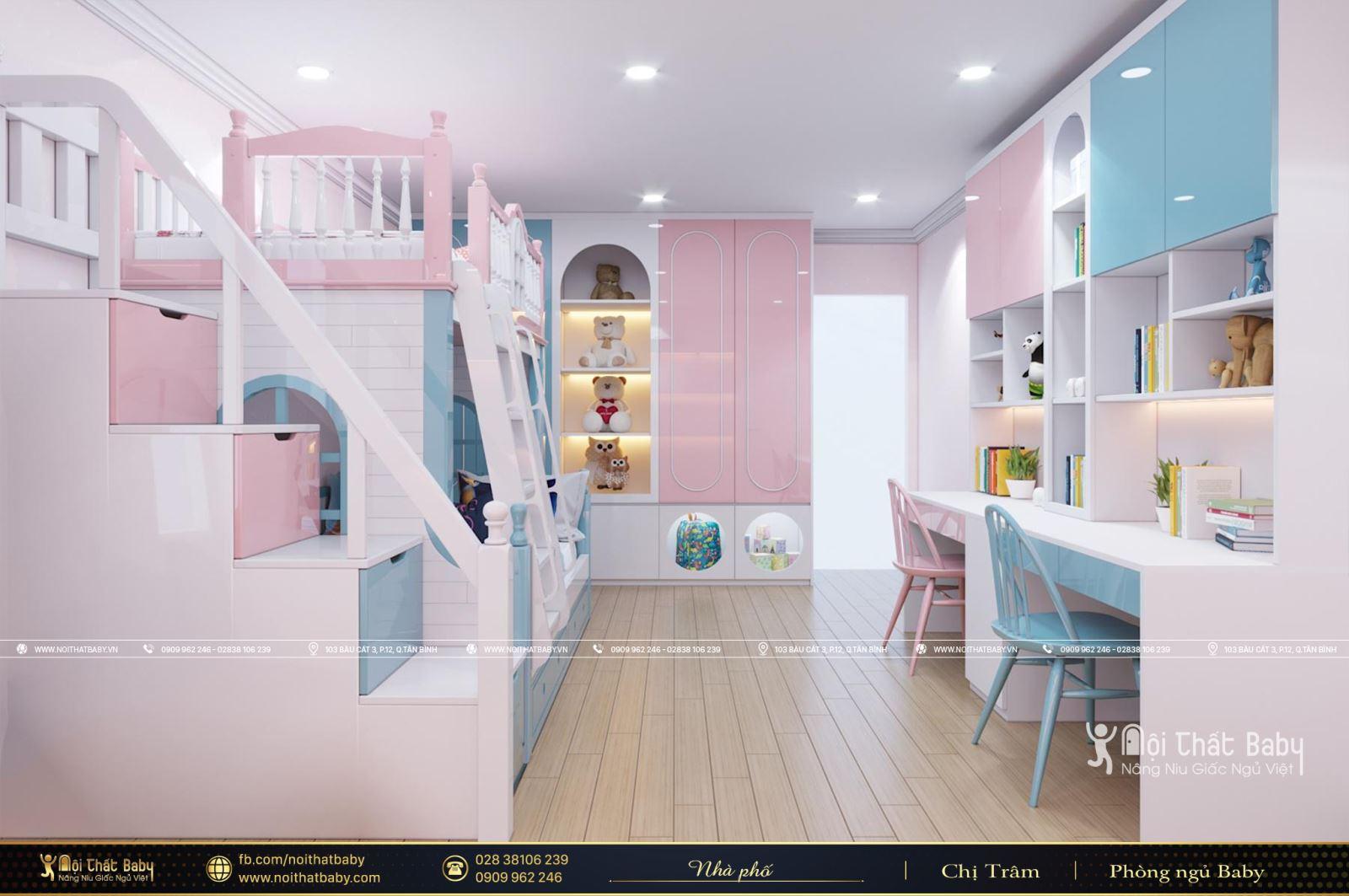 Mẫu giường tầng đẹp dành cho bé trai và bé gái