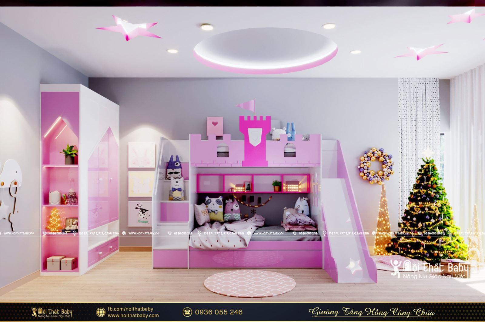 Top 4 mẫu giường tầng bé gái đẹp nhất năm 2021