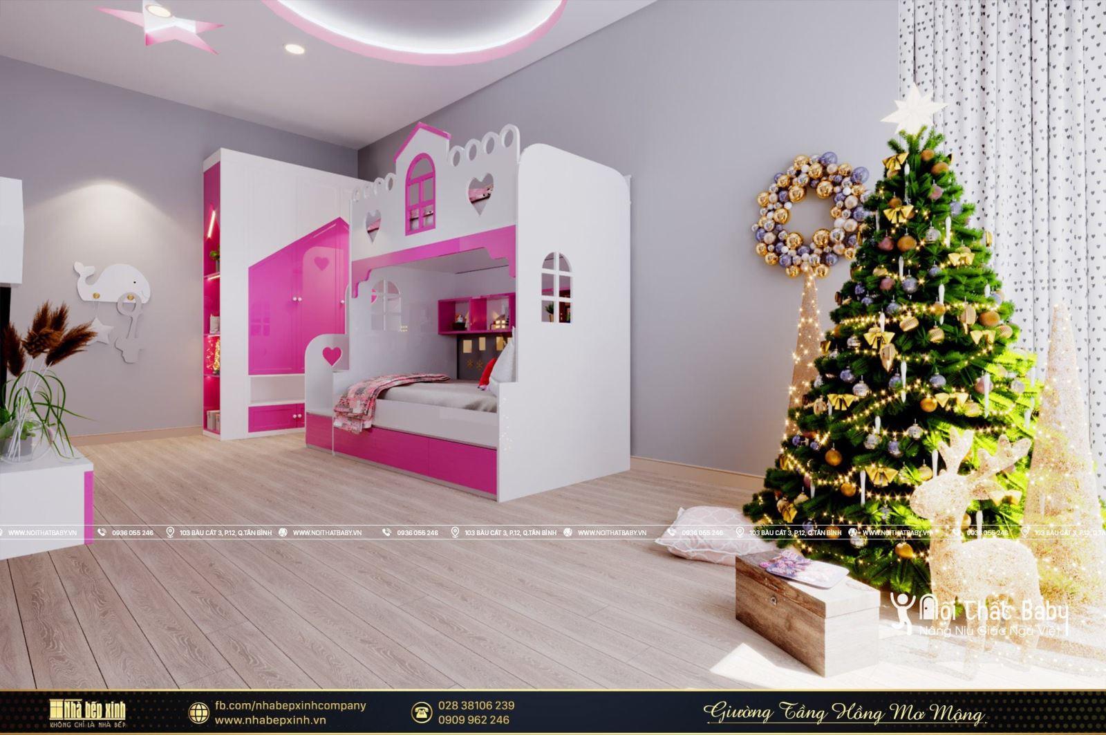 Mẫu giường tầng màu hồng mơ mộng đáng yêu cho bé gái