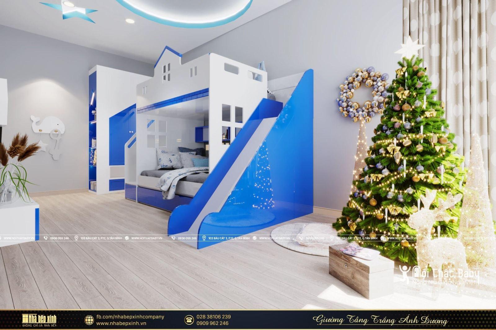 Mẫu giường tầng trắng ánh dương đẹp mê ly năm 2021