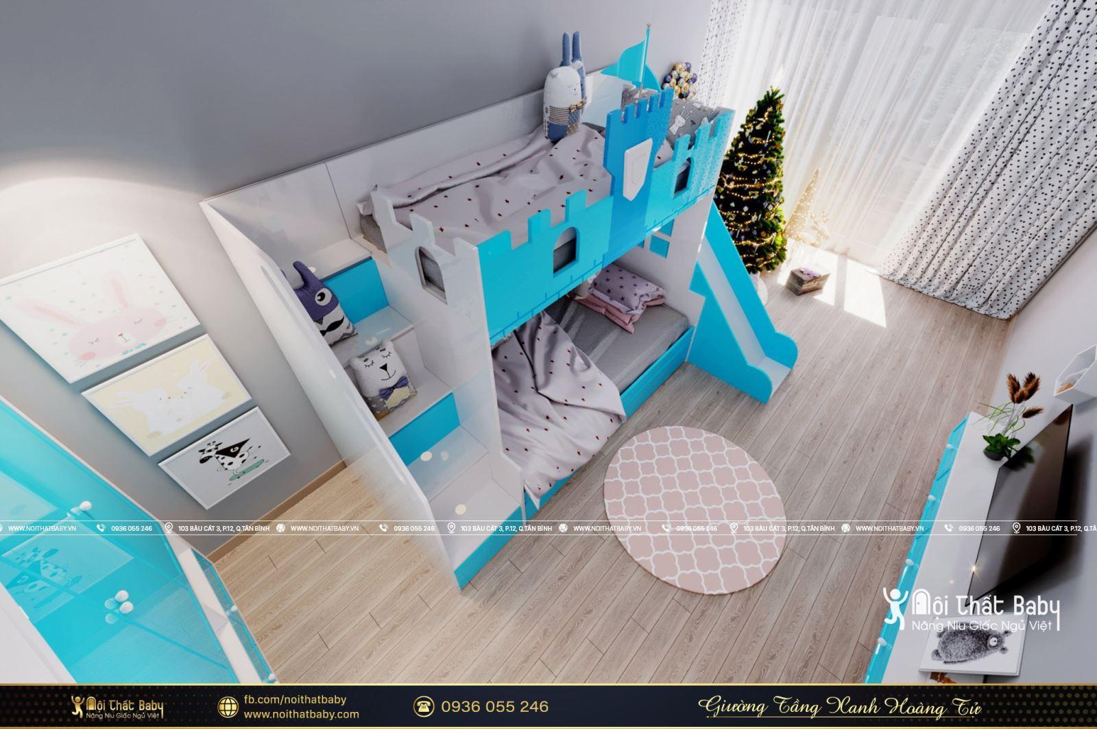 Mẫu giường tầng xanh hoàng tử năm 2021