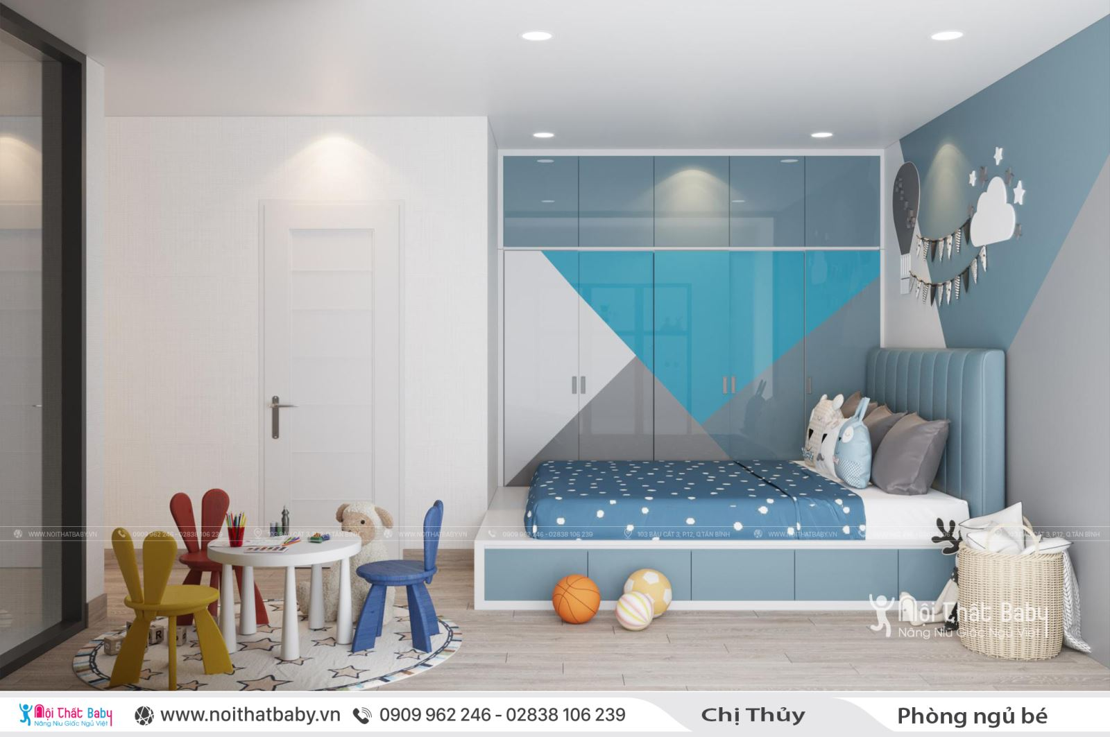 Phòng ngủ bé trai hiện đại