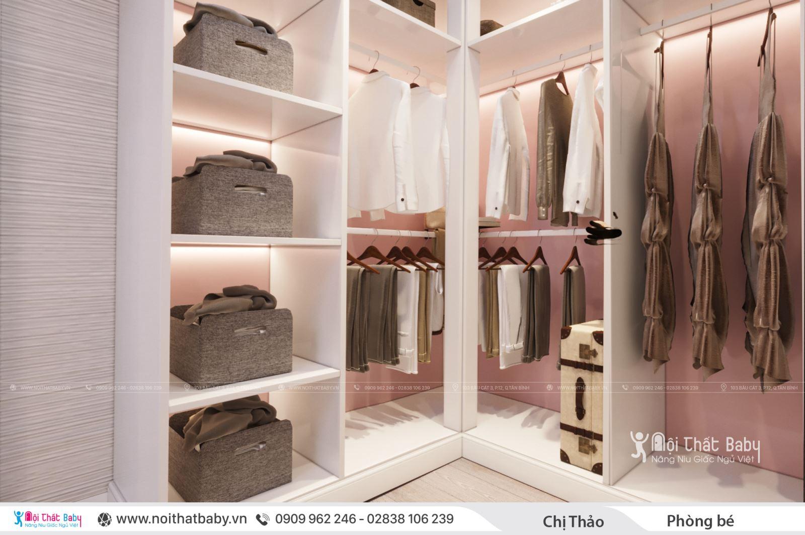 Thiết kế phòng ngủ bé gái màu hồng hiện đại