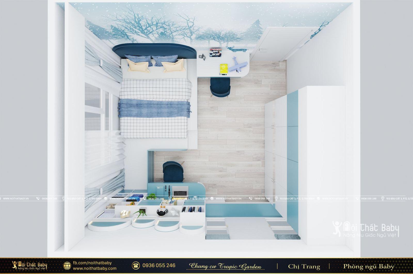 Nội thất phòng ngủ bé trai hiện đại căn Duplex Emerald Celadon City 191m2