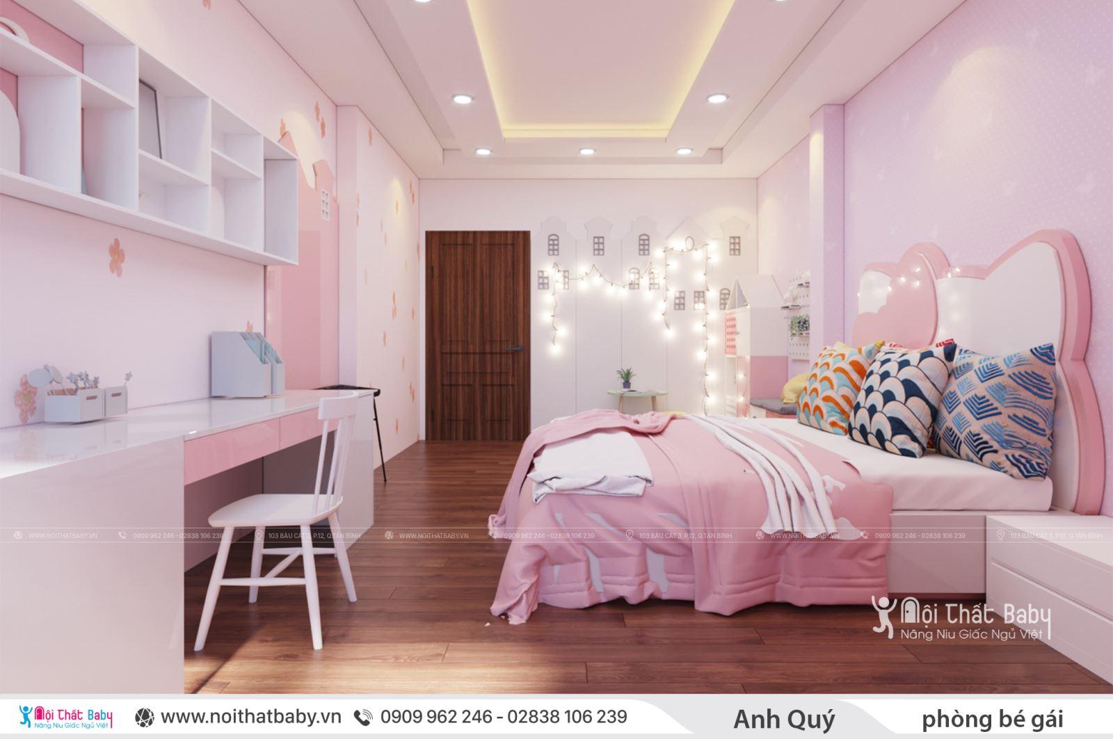 Thiết kế phòng ngủ bé gái dễ thương nhà anh Qúy - Quận Tân Phú