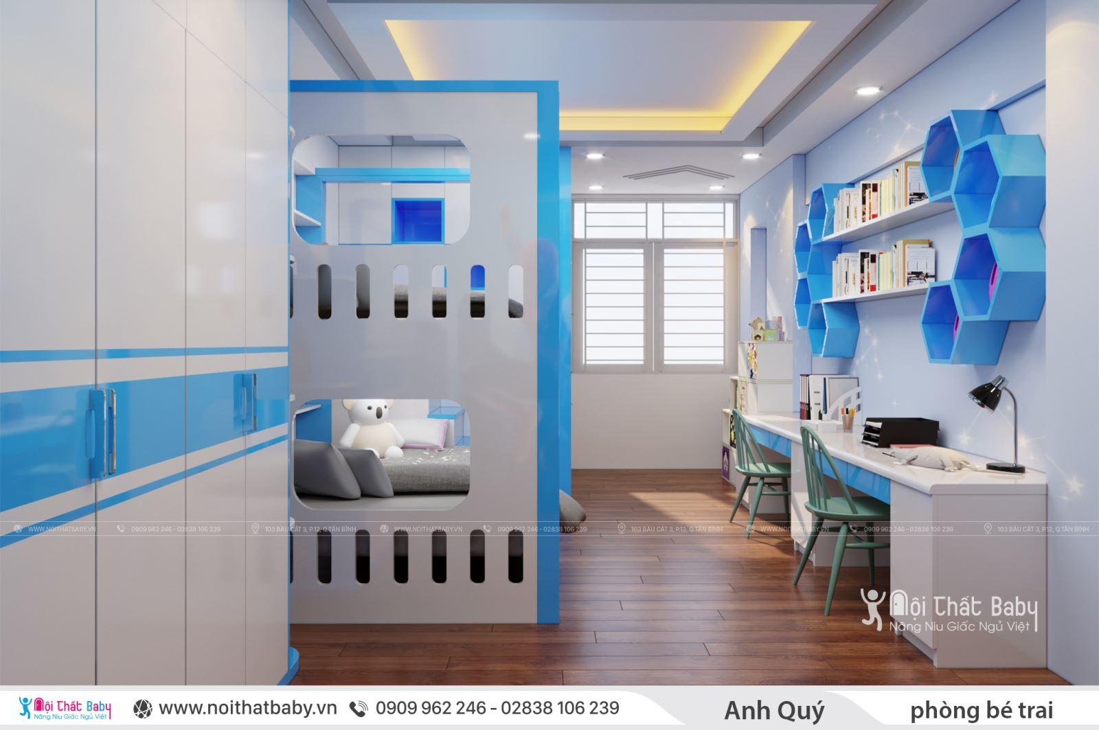 Thiết kế phòng ngủ bé trai nhà anh Qúy - Quận Tân Phú