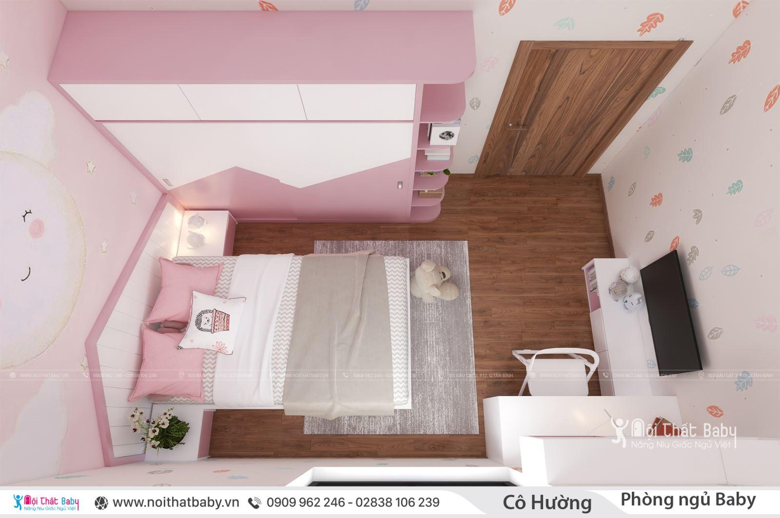 Mẫu phòng ngủ bé gái màu hồng đáng yêu