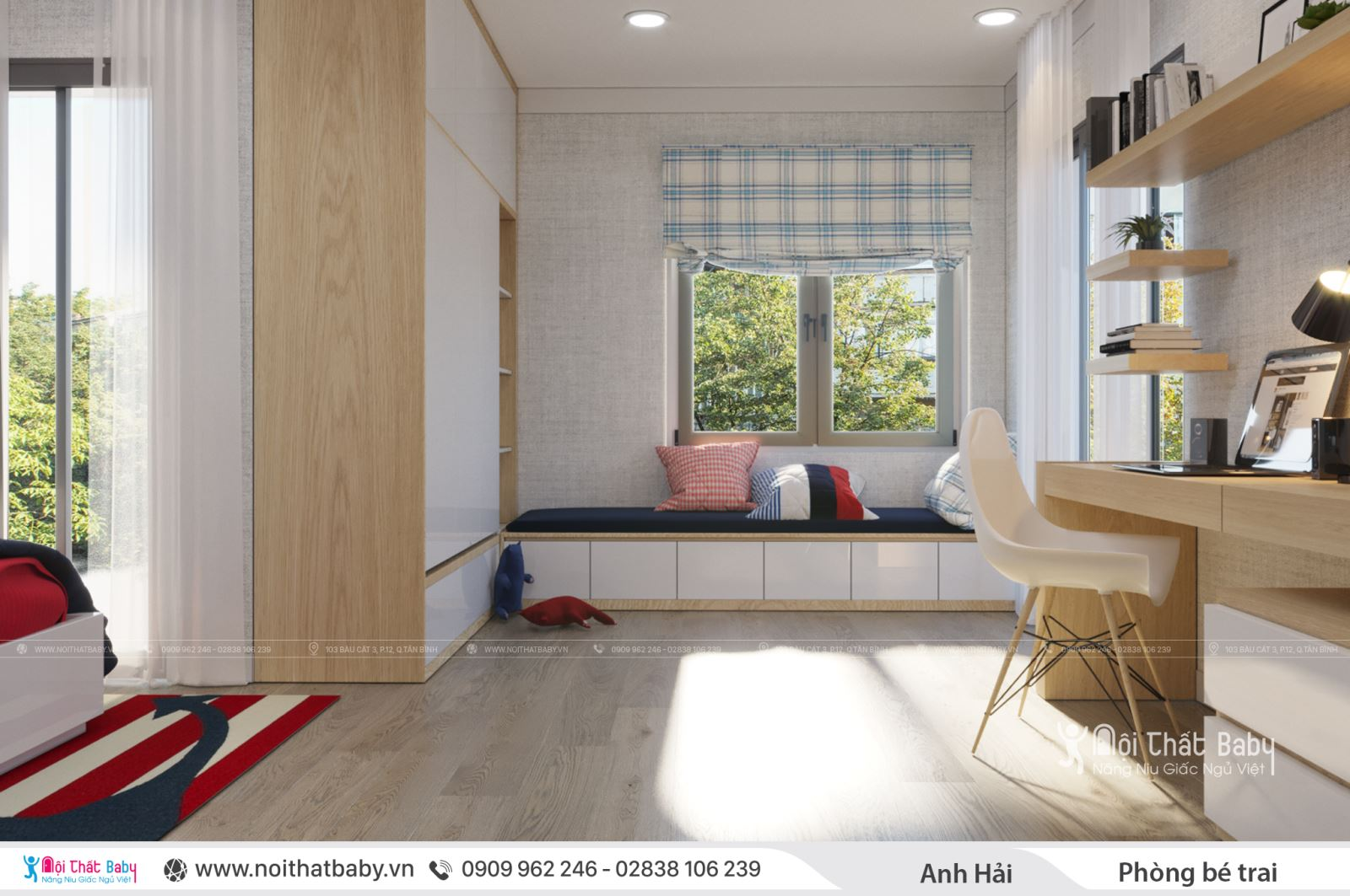 Mẫu phòng ngủ bé trai hiện đại