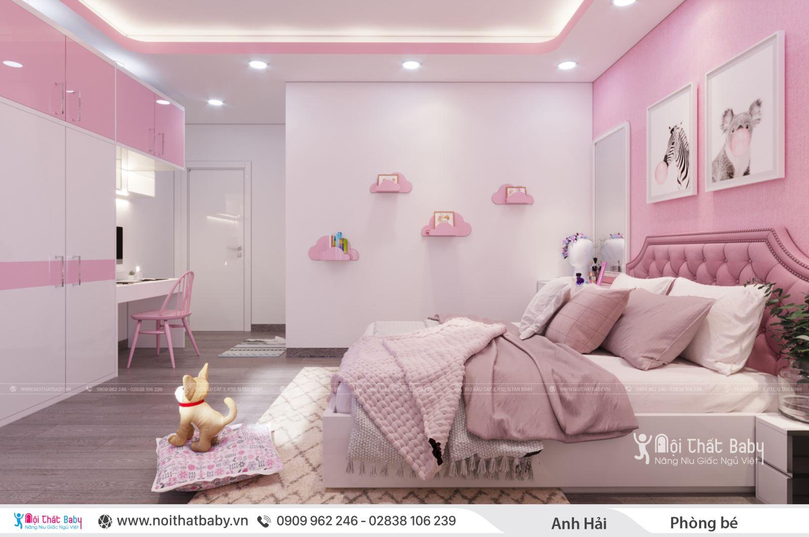 Nội thất phòng ngủ bé gái màu hồng hiện đại