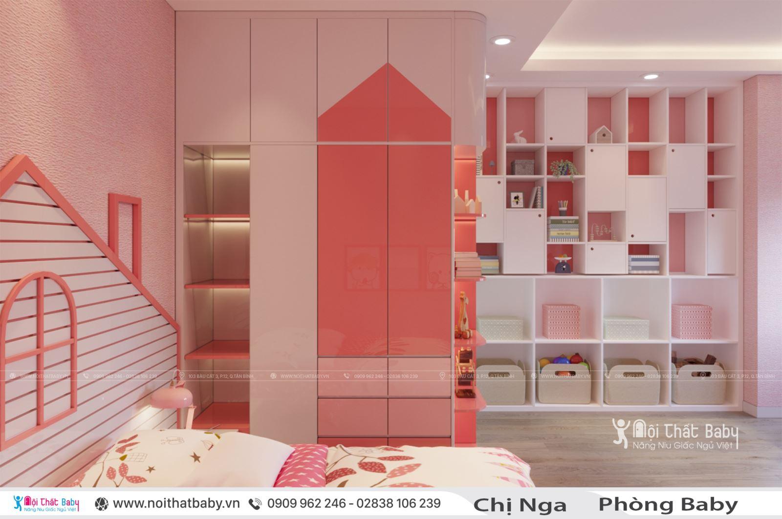 Phòng ngủ bé gái màu hồng dễ thương