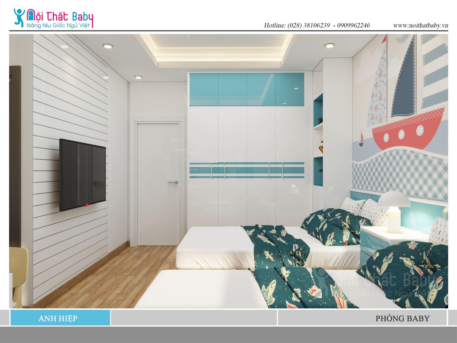 Phòng ngủ giường đôi hiện đại cho hai bé