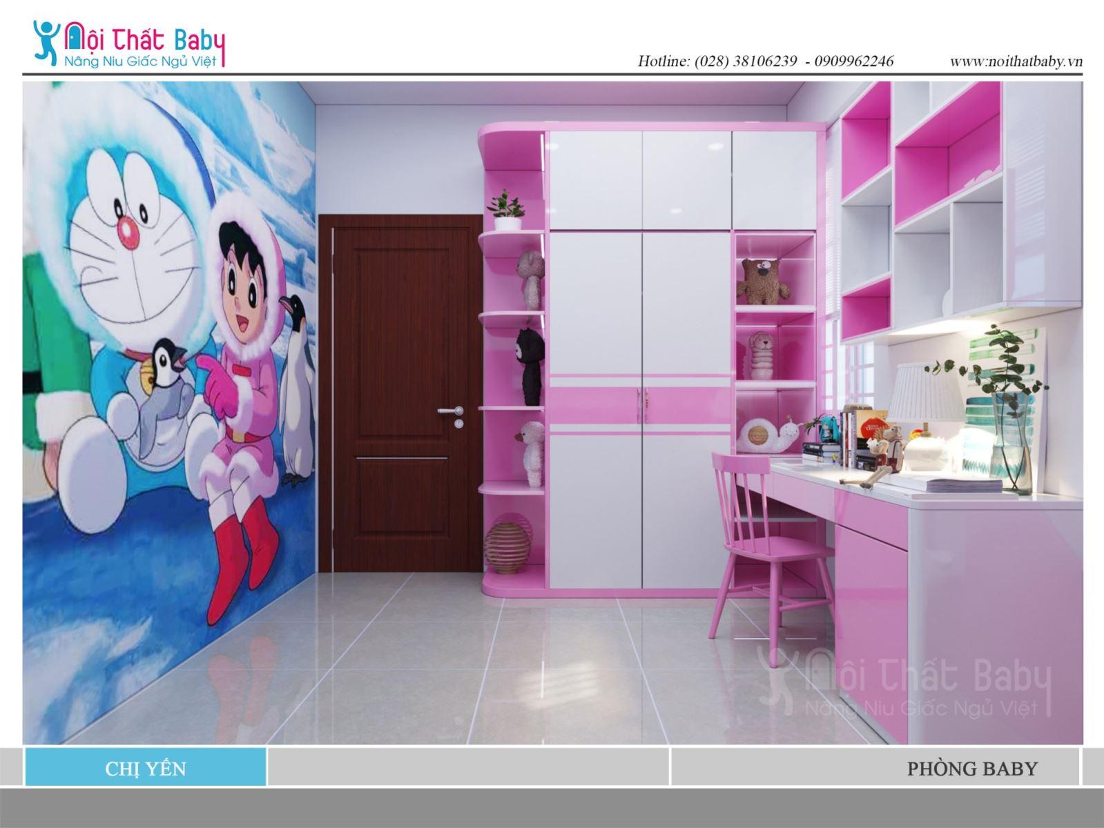 Mẫu phòng ngủ bé gái màu hồng dễ thương