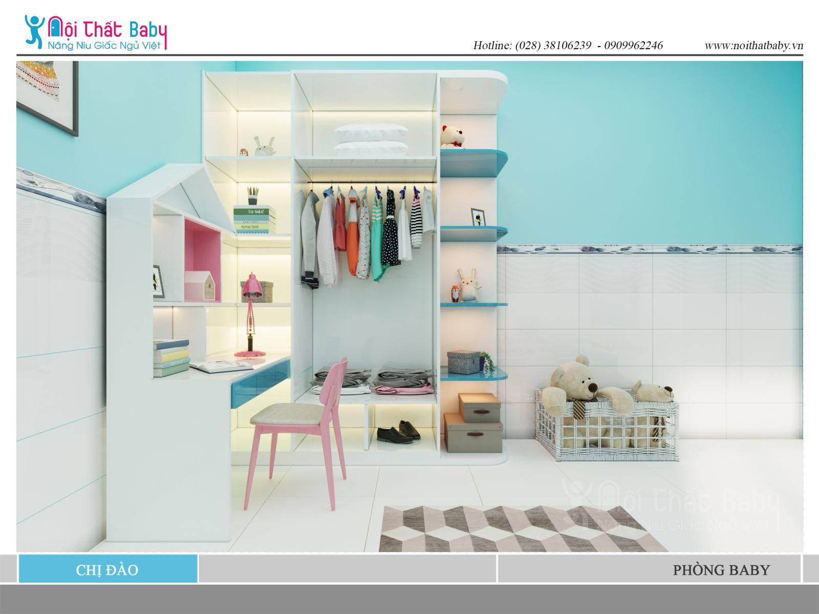 Mẫu thiết kế phòng ngủ bé gái đẹp với màu xanh nhà chị Đào