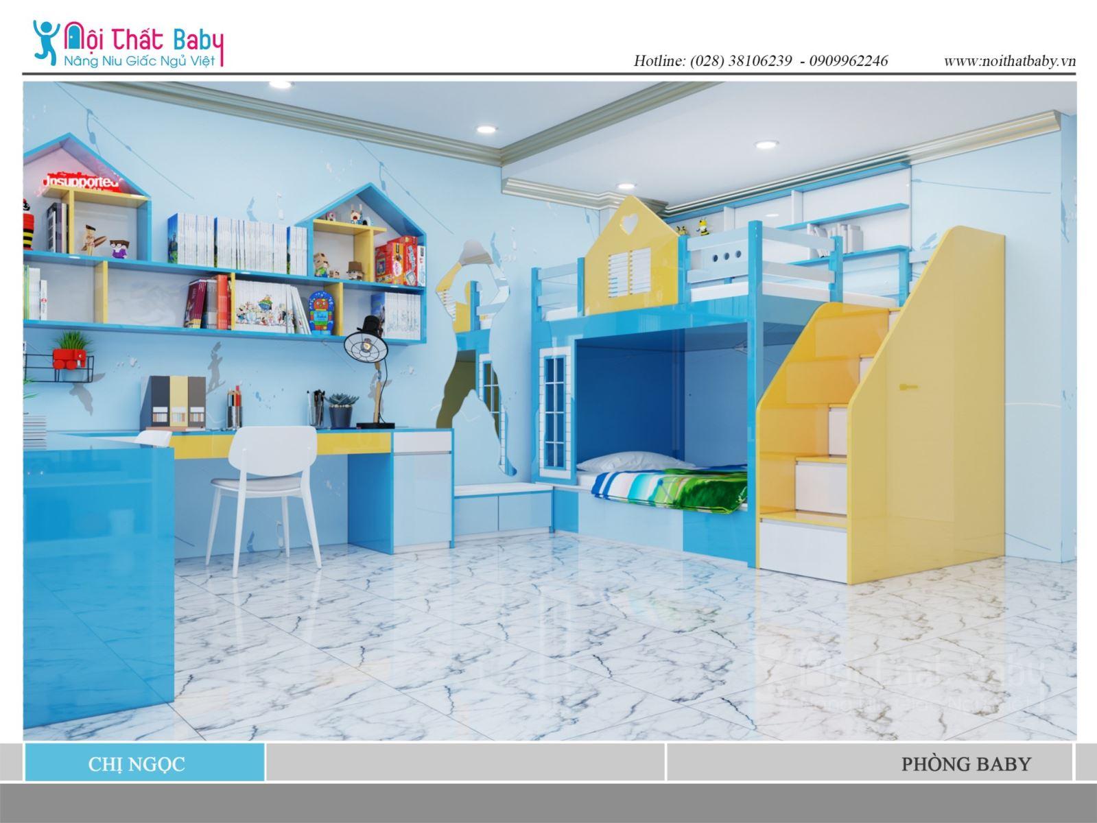 Phòng ngủ màu xanh tươi mát dễ thương cho hai bé nhà chị Ngọc
