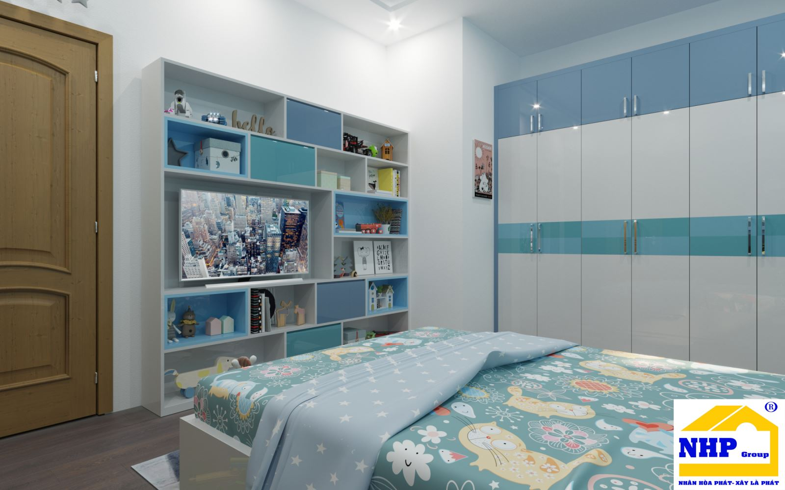 Phòng ngủ baby màu xanh tươi mát sang trọng