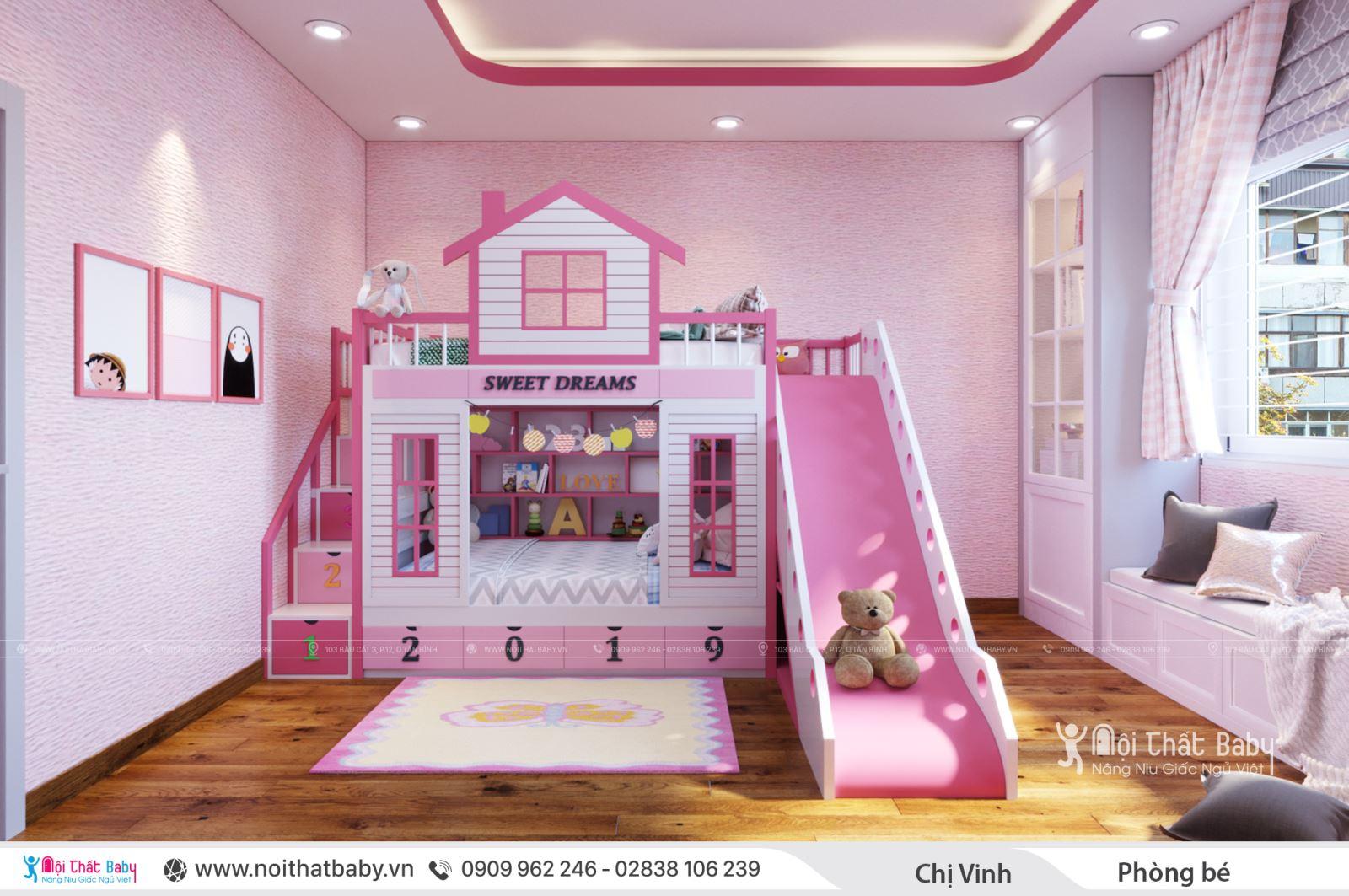 Thiết kế phòng ngủ gường tầng cầu trượt cho bé