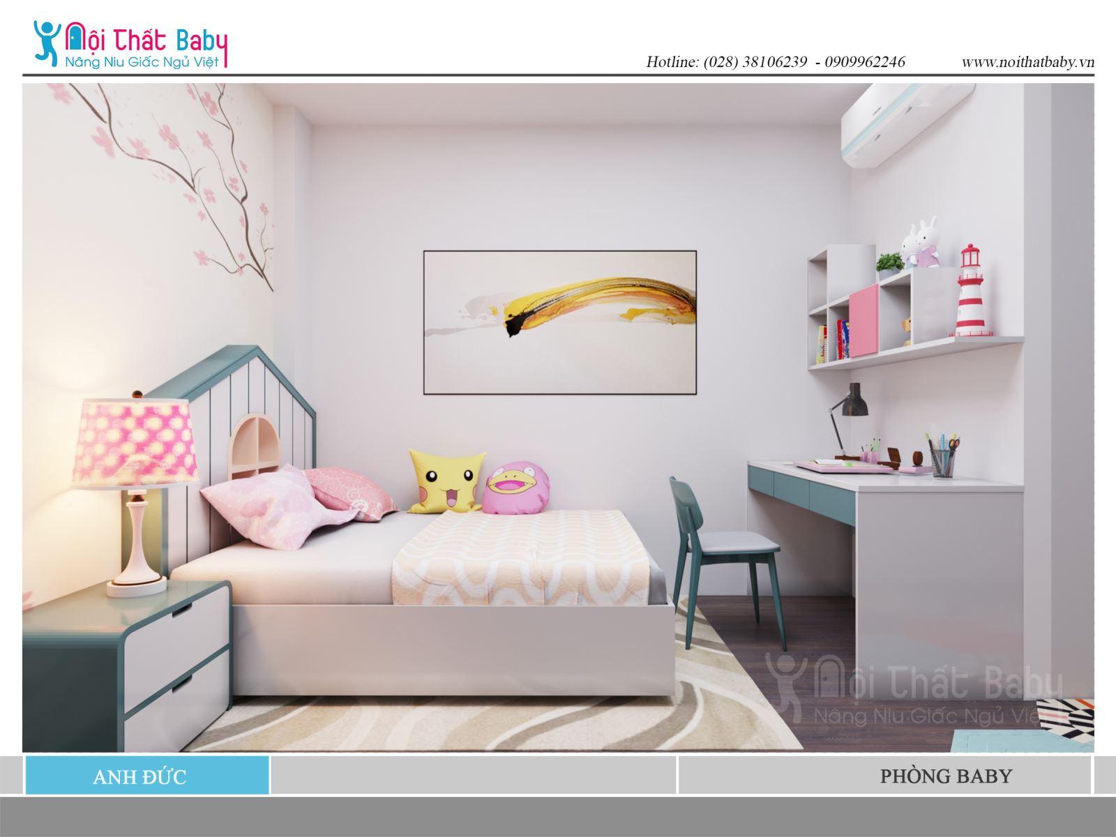 Phòng ngủ bé gái dễ thương màu hồng