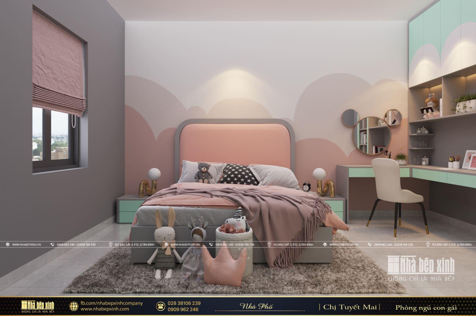 Phòng ngủ bé gái hiện đại xinh xắn tại Tây Ninh