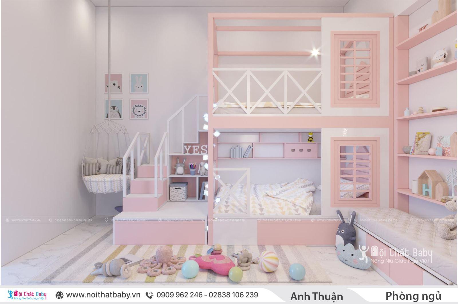 Phòng ngủ bé gái màu hồng - Giường tầng đa năng
