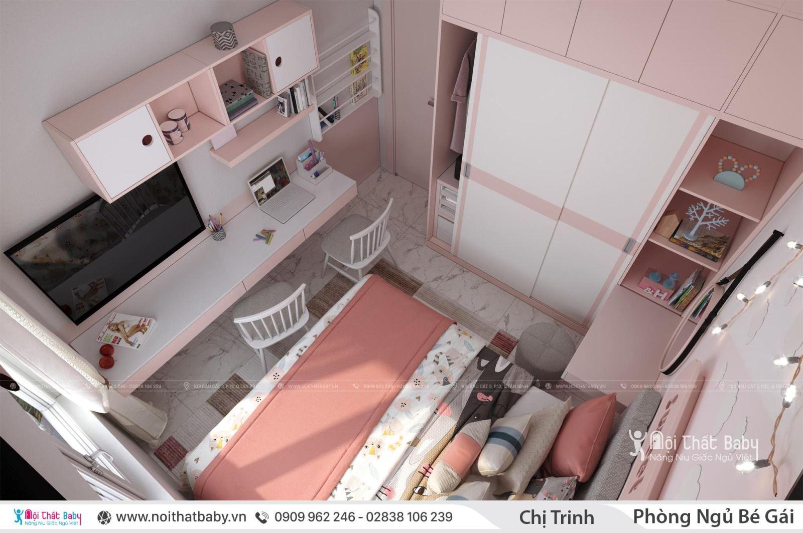 Phòng ngủ bé gái màu hồng cực kì xinh xắn