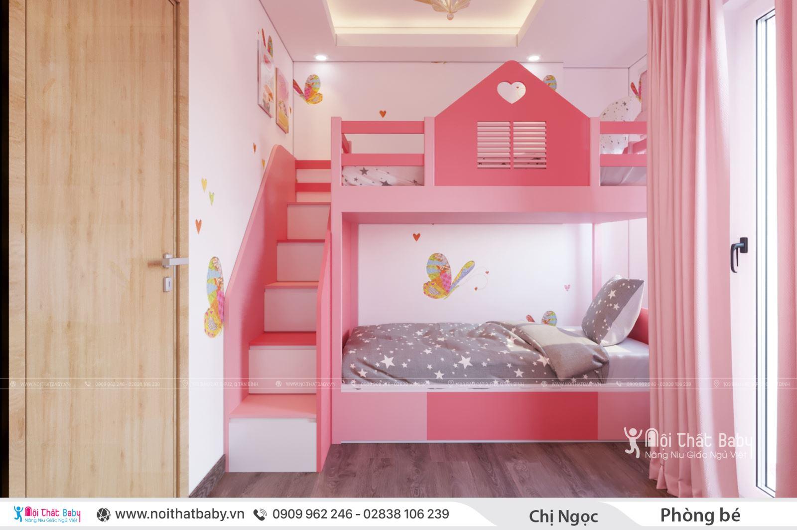 Giường tầng bé gái màu hồng dễ thương