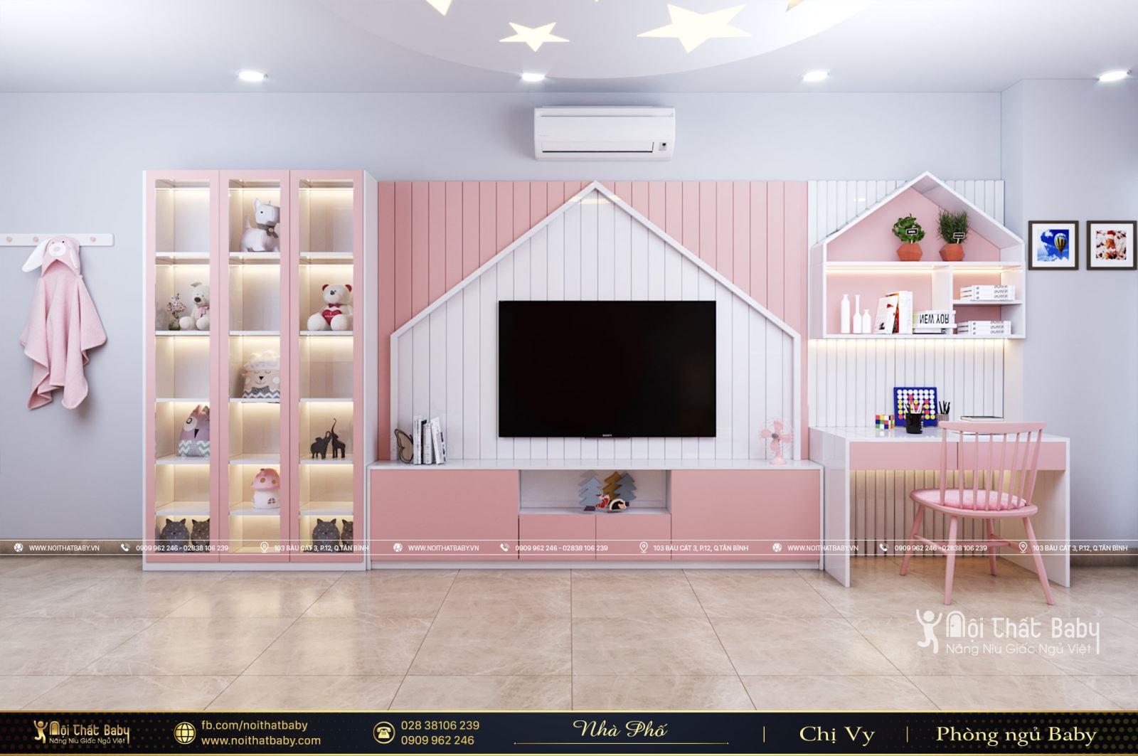 Phòng ngủ bé gái màu hồng tại Biên Hòa - Đồng Nai
