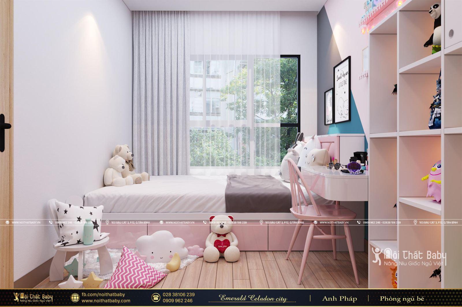 Phòng ngủ bé gái màu hồng tại Emerald Celadon City 104m2