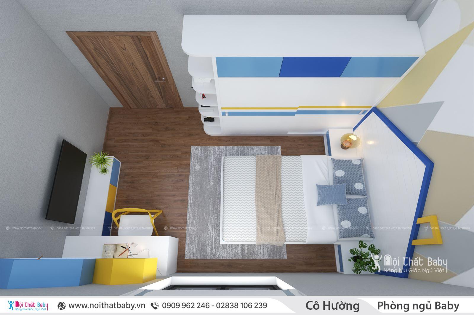 Nội thất phòng ngủ bé trai hiện đại