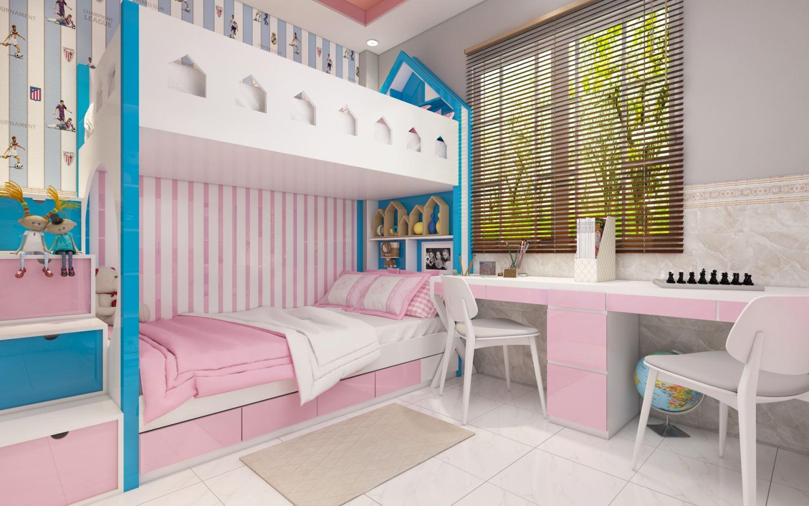 phòng ngủ đôi cho hai bé