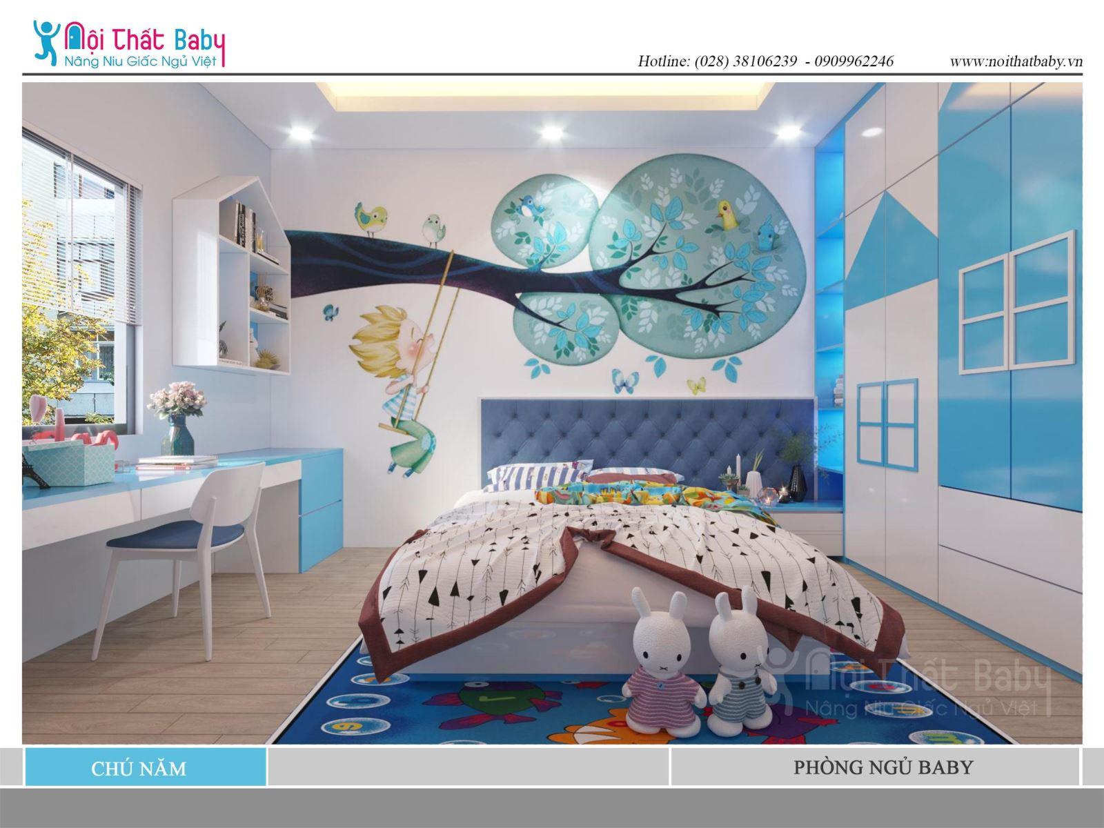 Phòng ngủ bé trai đẹp màu xanh