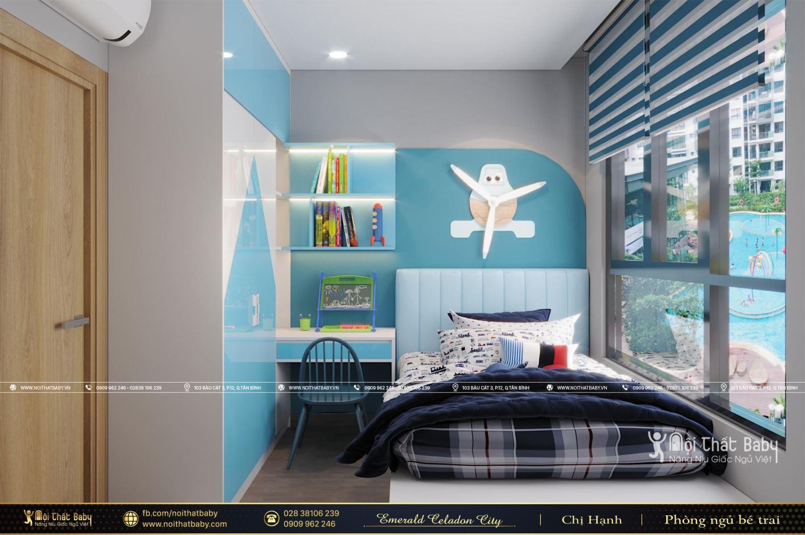 Phòng ngủ bé trai hiện đại căn Emerald Celadon City 112m2