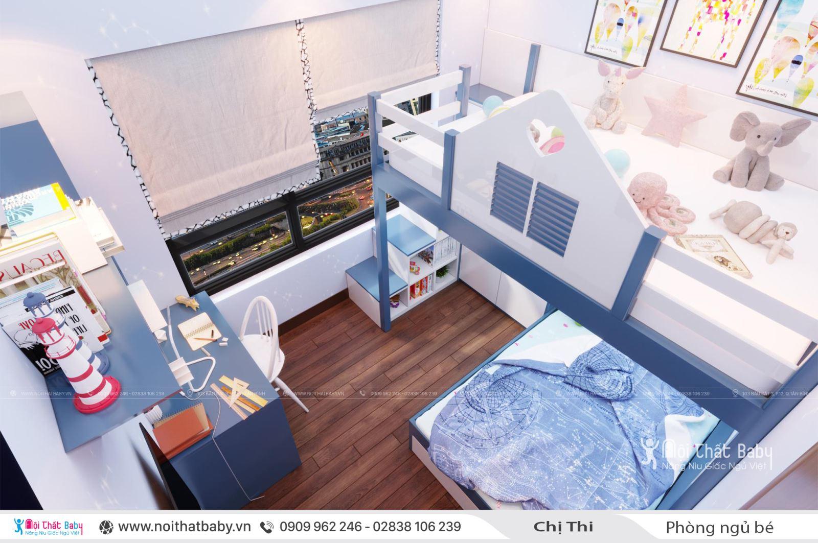 Phòng ngủ bé trai màu xanh tại căn Duplex 97m2 Emerald Celadon City